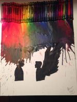 Crayon Melting: The Hunter and His Angel by deanieweanieluvspeen