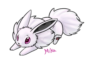 Mika the Albino Eevee by CheezieSpaz