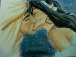 Aladdin and Jasmine Kiss by CowgirlSpirit