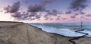 Caister Beach Panoramic Sunset by Rentapest