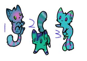 Aqua Kitty Adopts -CLOSED- by KalineReine