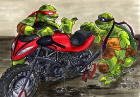 TMNT: Working on a bike by loolaa