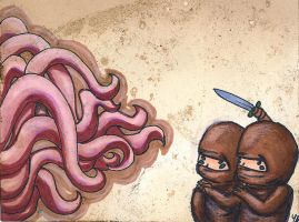 ninja vs. squid by lenagirl212