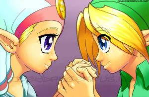 Ocarina of Time Zelda and Link by JoeOiii