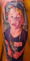 realistic portrait tattoo of kid by Remistattoo