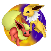 Flareon and Jolteon by Gr33n-DrAg0n