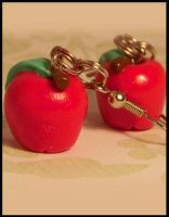 An Apple A Day -- Earrings by poketheyolk