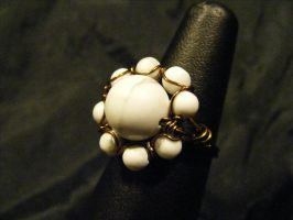 howlite and bronze orbit ring by BacktoEarthCreations