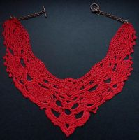 Red crochet collar for special occassions by nikkichou
