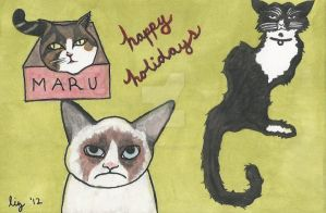 Happy Holidays from Maru, Henri and Tardar Sauce by iheartyourpsyche