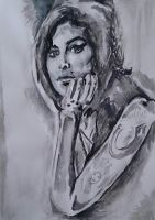 Amy Winehouse, Watercolour, 2014 by UniiqueTouch
