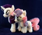 Sisterhooves Rarity and Sweetie Belle plushies by WhiteHeather
