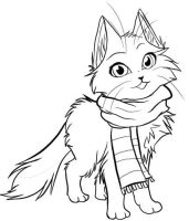 Chibi Kitty Cat with Scarf lineart by Howling-Okami