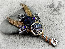 Dark Companions- Wiccan inspired Key Necklace by ArtByStarlaMoore