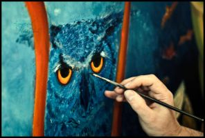 Painting the Owl by tugrulnohutcu