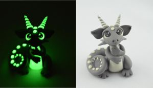 gray glow in dark dragon by claymeeples