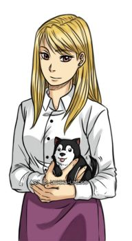Riza and puppy Black Hayate by Uchiha-Umeko