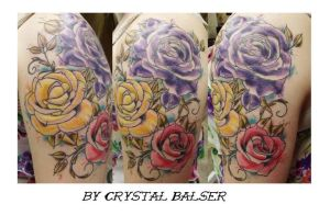 Watercolor roses tattoo by IAteAllMyPaste