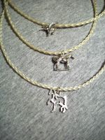 Horse hair necklace n charms by BloodStainedSilk