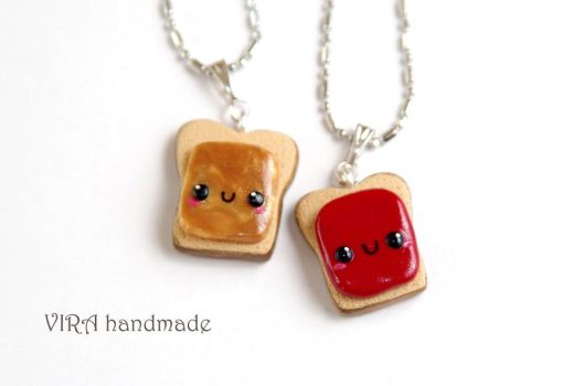 Kawaii Peanut Butter and Jelly Necklaces by virahandmade