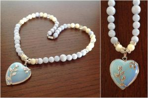 Rose Heart Necklace - Opalite by pinkythepink