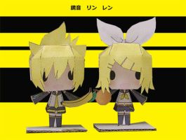 Vocaloid Kagamine Twins by tsunyandere