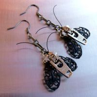Silver Steampunk Moth Zipper Earrings by deathbysunset