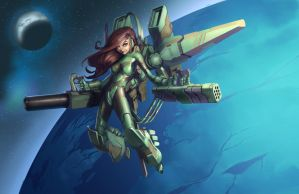 Armored Space Girl Process 03 by billydallaspatton