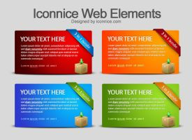 four colour web elements by iconnice