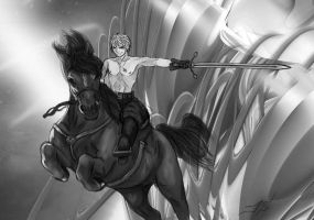 Swordsman on horse. by helmasterseray