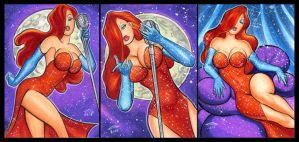 JESSICA RABBIT PERSONAL SKETCH CARDS by AHochrein2010