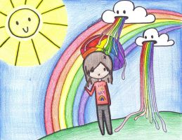 where the clouds puke rainbows by VampirexPenguin