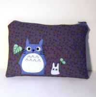 Blue and white Totoro pouch by yael360