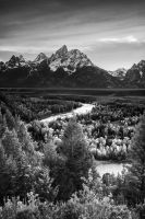 Snake River in BW by porbital
