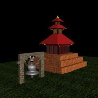 3d Temple and Bell by sumangal16