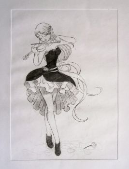 Violinist - drypoint by Jakly