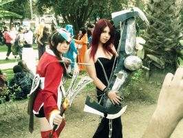 Blood Moon Akali and Pentakill sona cosplay by RosseSinner