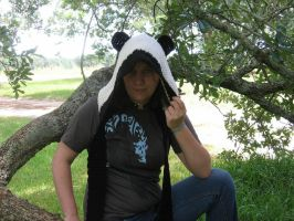 Crochet panda hat by SunFireDemon