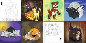 Fall Pups Commissions by NatsumeWolf