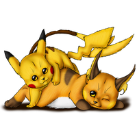 Pikachu and evo by AFrozenHeart2