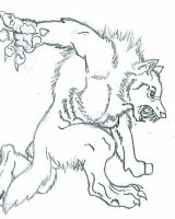 Werewolf: Old Drawing by DragonFire782001