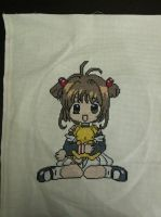 Sakura Kinomoto with Kero cross stitch by Nikkirose555