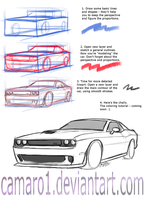 Tutorial part 1 - Challenger, lineart. by camaro1