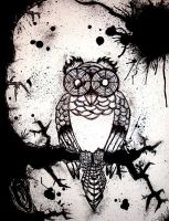 Inked Paper Owl by SeantheArtist