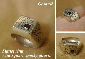 Signet Ring with Smoky Quartz by GeshaR