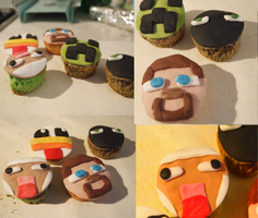 Minecraft cupcakes by Lauzor