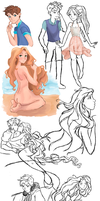 Jackunzel Mermaid AU-sketches by moonlight-dragonart