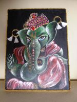 Ganesha Acrylic Painting by saintvinod