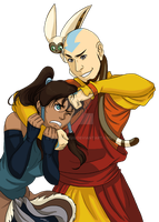 Korra and Aang by momofukuu
