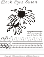 Mommysbiz | B-BlackEyedSusan-B Preschool Worksheet by DanaHaynes